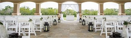 Exterior ceremony looking up aisle